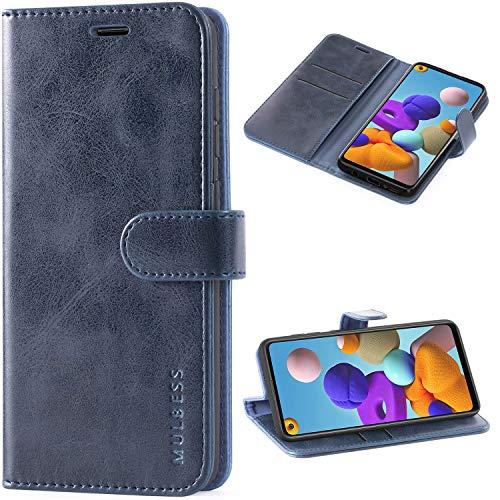 Mulbess Cover per Samsung Galaxy A21s, Custodia Pelle con Magnetica per Samsung Galaxy A21s [Vinatge Case], Navy Blu