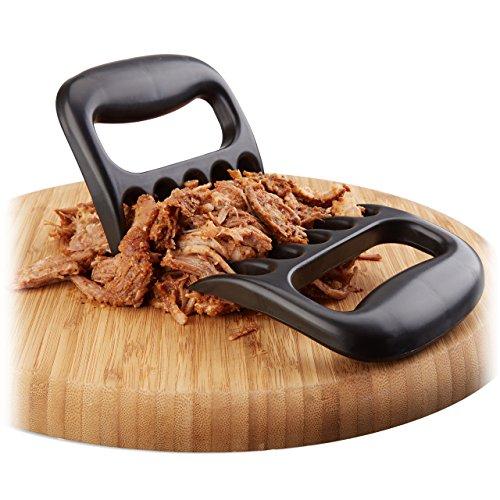 Relaxdays Fleischkrallen 2er Set, Pulled Pork Krallen, Meat Claws für BBQ, Fleischgabeln im Bärenkrallen-Look, schwarz