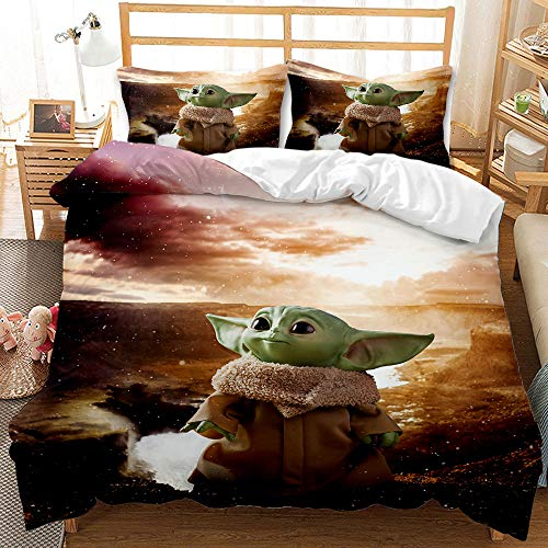 Enhome 3D Bedding Set - Printed Quilt Cover with Zipper Closure + Pillowcases, Microfiber Duvet Cover Set Easy Care for Children Teen Adult Single Double King Bed (Baby Yoda 8,220x240cm)