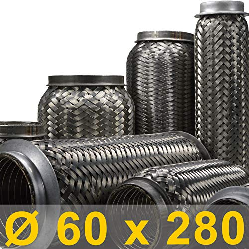 Flexrohr | Flexstück | Flexteil | Flexibles Rohr | Auspuff | Auspuffrohr | Mitteltopf | Endtopf | Hosenrohr | Abgasrohr | Drahtgeflecht | Flexschlauch | Universal (Innen Ø 60mm, Gesamt 280mm)