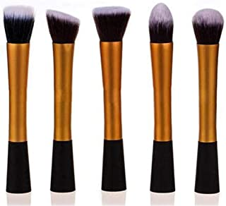 Professional makeup brush 5pcs Professional Single Slim Waist Makeup Brushes Foundation Powder Blush Cosmetic Brush Concealer Brushes Makeup Beauty Tools Gold Color (Color : Gold)