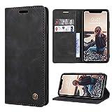 RuiPower Kompatibel für iPhone XR Hülle Premium Leder PU Handyhülle Flip Hülle Wallet Lederhülle Klapphülle Klappbar Silikon Bumper Schutzhülle für iPhone XR Tasche - Schwarz