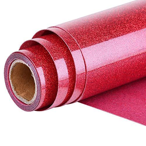 Topmail Glitzer Transferpapier Transferfolie 160x25cm Aufbügeln T-Shirt Textil Folie Wärmeübertragung Folie Vinylfolie für Kleider Textil Dekoration(Rot)
