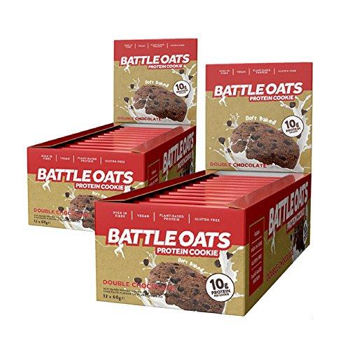 Protein Cookie Bar Vegan Gluten Free Battle Oats Double Chocolate Chip 24 x 60g