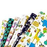 WolinTek Papel de Regalo, 6 Piezas Surtidos de Papel de Envoltura de Regalo con Unicornio y Dinosaurios - Bodas, Cumpleaños, Christmas,Baby shower para Niños Niñas de Regalos (6 Diseño, 70 x 50cm) (B)