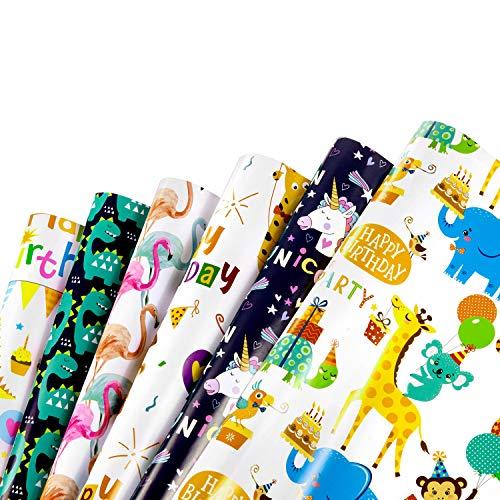 WolinTek bunten Geschenkpapier, 6 Bogen Kinder Packungen Geschenkpapier mit 6 Verschiedene Tieren für tolle Geschenk Kinder Geburtstag Hochzeit Taufe Party, 70 x 50 cm
