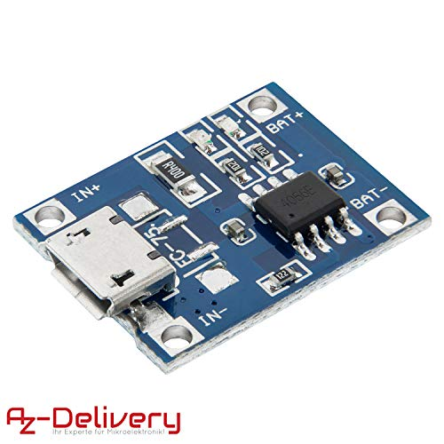 AZDelivery TP4056 Mini USB 5V 1A Laderegler Lithium Li - Ion Batterie Charger Modul inklusive eBook!