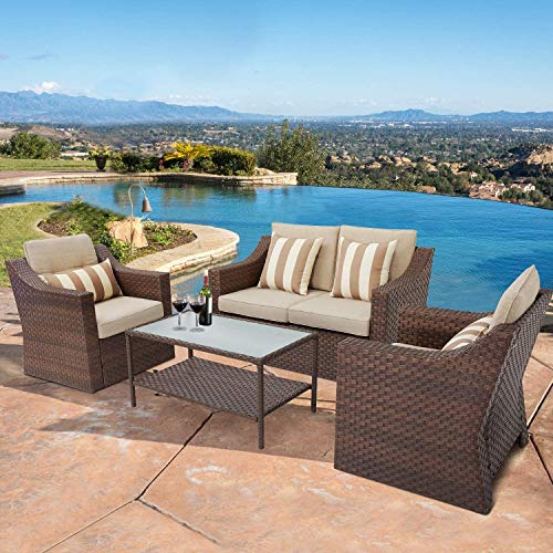 Patiomore 4-Piece Outdoor Patio Conversation Set All Weather Wicker Furniture Sofa Set with Glass Coffee Table,Brown