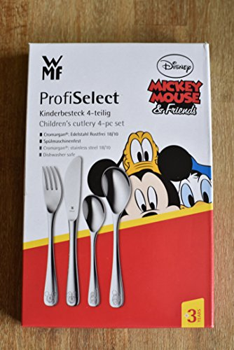 WMF Kinderbesteck, Disney Mickey Mouse 4-teilig ab 3 Jahren Edelstahl Cromargan poliert spülmaschinengeeignet, farb- und lebensmittelecht
