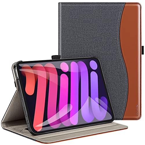 ZtotopHülles Hülle für Neu iPad Mini 6 2021 8.3 Zoll,Premium PU Leder Business Folio Stand Cover mit Auto Schlafen/Wachen für iPad Mini 6. Gen, Dokumenten Karten Steckplatz, Denim Schwarz