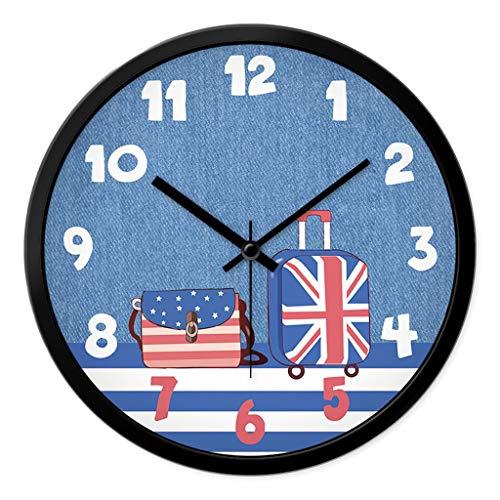 Everyday home Moderne Minimaliste Silencieux Horloge Murale Intérieur Salon Chambre Classe Enseigner Enfants Temps De Lecture Horloge À Quartz Montre (Couleur : NOIR, taille : 12 pouces)