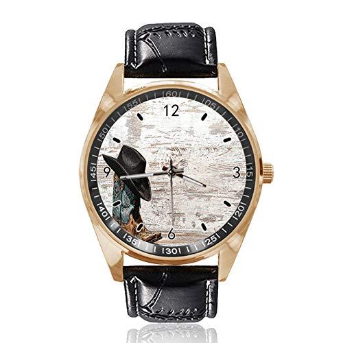 Cowboyhut und Cowgirl-Stiefel Custom Design Armbanduhr Analog Quarz Gold Zifferblatt Klassische Lederband Damen Herren Armbanduhr