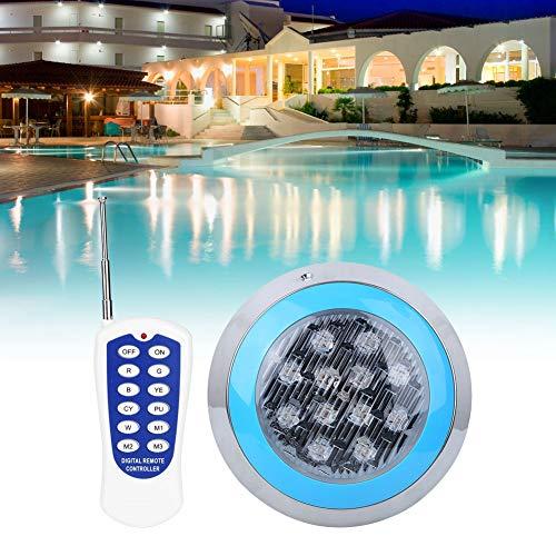 Luz subacuática, 12LED 12W AC12V Luz de pared para piscina Control remoto IP68 Decoración de luces subacuáticas