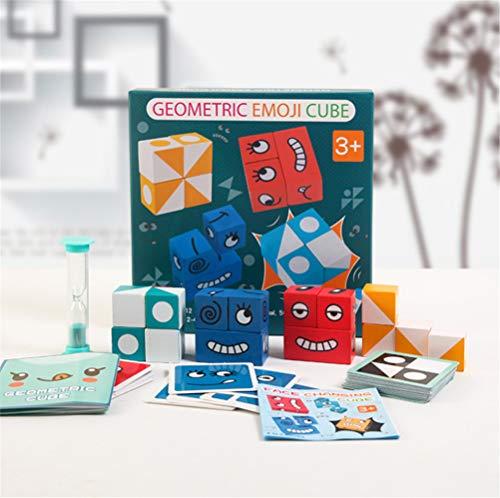 Inmindboom Puzzle Building Cubes Emoji, geometrischer Emoji-Würfel Gesichtsverändernde Puzzle Building Cubes Interaktionsspielzeug Emoji-Matching-Spiel aus Holz für logisches Denken (A)