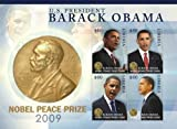 2009 President Barack Obama Wins The Nobel Peace Prize, Collectible Sheet of 4 Stamps, Mint Never Hinged