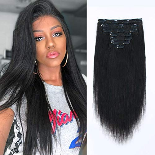 SixStarHair 16inch 120g per Pack Remy Human Hair Coarse Yaki Clip In Hair Extensions For African American Women Relaxed Italian Yaki Straight Clip Ins 7 Pieces set