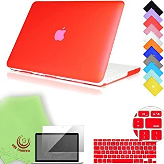 UESWILL 3in1 Smooth Matte Hard Shell Case Cover for 13 inch White Unibody MacBook (Fits Model: A1342) + Keyboard Cover and Screen Protector + Microfibre Cleaning Cloth, Red