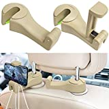 Car Hooks, LIMINK Car Seat Back Organizers Headrest Hooks for Purse and Bags Hanger , Cool Car Gadgets Accessories Hook with Cellphone Holder 2 in 1 (Beige)