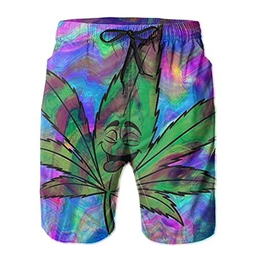 HARLEY BURTON Pantalones cortos de natación para hombre, marihuana psicodélica, de secado rápido, para natación, para surf, playa, con cordón ajustable
