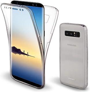 Moozy Cover Protezione 360 Gradi per Samsung Note 8 Silicone Trasparente - Full Body Custodia TPU Case Copertura Completa