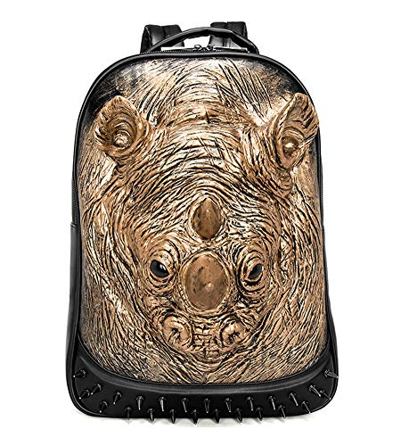 Daypack casual,Zaino in pelle da viaggio in pelle College Schoolbag 3D Stereo Personalità Laptop Bag Zaino Sport all'aria aperta Anti-ladro Daypack-gold-Onesize