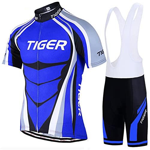 DNJKH Hombres Jersey + Pantalones Cortos Mangas Cortas de Ciclismo Conjunto de Ropa para Ciclismo al Aire Libre