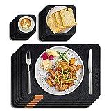 Sportout Platzsets aus Filz 6er Set Anti-Rutsch Tischset, anthrazitfarbene Platzdeckchen abwischbare Filzmatte aus 30 x 45 cm, grau/Schwarze Matte (Untersetzer,Schüsselmatte enthalten)