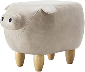 THBEIBEI Storage Benches Footstools Solid Wood Footstool Ottoman Pouffe Children's Rest Chair Living Room Bedroom Pig Shape Two Colour (Color : White)