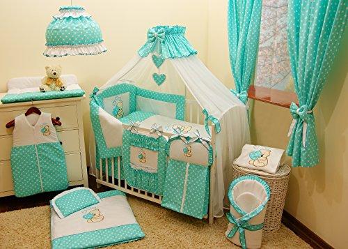 Literie de bébé ensemble set XL complet 10 pièces linge parure de lit 100% coton avec broderie + moustiquaire motif brodées nounours/ourson pour fille garçon (120x60cm, Turquoise)