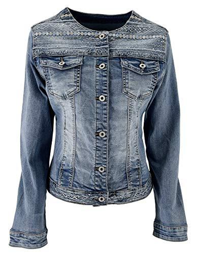 JOPHY & CO. Giacca Jeans Denim Donna Corta Cotone senza Colletto con Brillanti e Tasche (cod. JC001) (s)