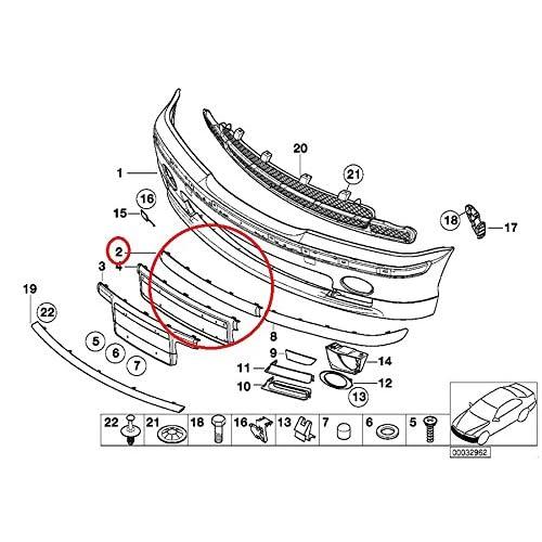 genuine bmw e46 325i 330i m performance front bumper center impact strip  51118195304