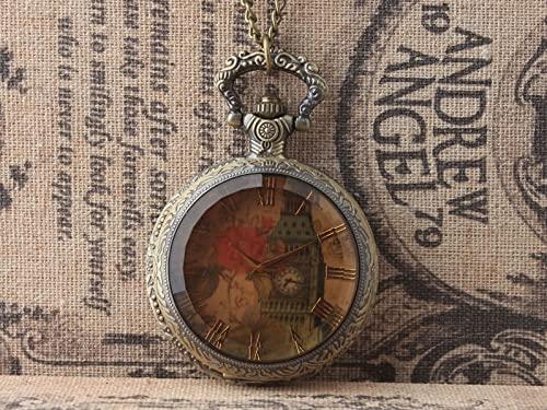 DMCMX Reloj de Bolsillo Superior Reloj Romántico Rose Big Ben Pointer Clásico Vintage Estilo de Bolsillo Movimiento de Cuarzo Cáscara de Metal Muy Apto for Regalo for un Amigo