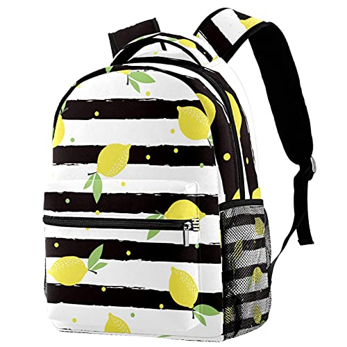 Leisure Campus - Mochilas de viaje con diseño de rayas de limón y cítricos con soporte para botellas para niñas y niños