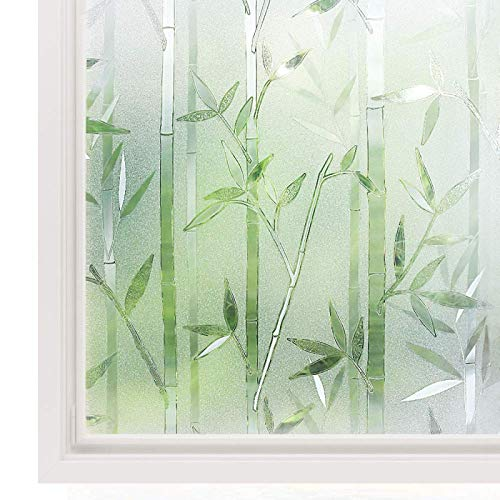 WWWL Fensterfolie Mehrere Größen erhältlich 3D Privatsphäre Fenster Film kein Kleber statische Cling Glas Film Bambus Frosted Vinyl dekorative GlasAufkleber 90x500cm
