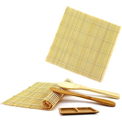 Milkvetch Kit para Hacer Sushi y Juego de Vajilla para Sushi, Tapetes con Ruedas, Paleta de Arroz, Plato para Salsas con Compartimentos, Tapetes y Utensilios de Bambú