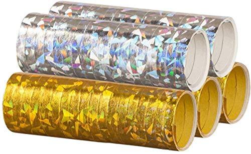 feiermeier® Silber & Gold Mix - Metallic Luftschlangen im 5er Sparpack - 5 Rollen mit je 18 holografisch-glitzernden Luftschlangen - für Silvester, Karneval, Fasching, Geburtstag, Hochzeit ®