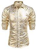 COOFANDY Men's Luxury Design Shirts Floral Dress...