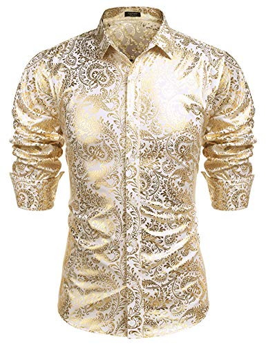 COOFANDY Men's Luxury Design Shirts Floral Dress Shirt Casual Button Down Shirts