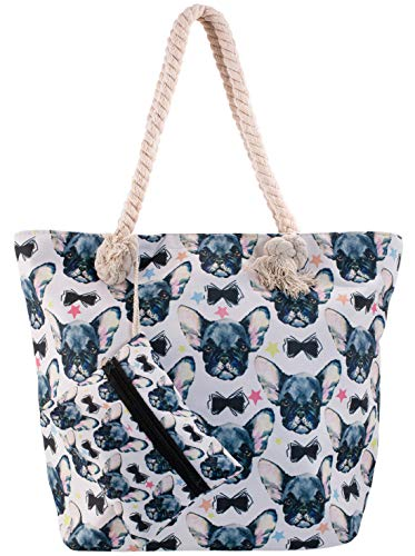 Frenchie Beach Shoulder Tote Bag - Frenchie Fashion Weekender Travel Bag - Comes with Quick Reach Zipper Pouch