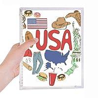 米国アメリカ 愛心臓の国旗 硬質プラスチックルーズリーフノートノート