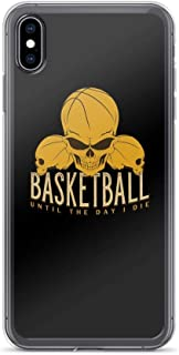 Compatible for iPhone 7 Plus/8 Plus Cover Case Basketball Until The I Die Skull Quote, Clear Anti-Scratch