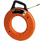Klein Tools 56056 Fiberglass Fish Tape, 200-Foot Wall Snake is 3/16-Inch Wide Non-Conductive Multi-Groove Fish Tape with 7-Inch Leader