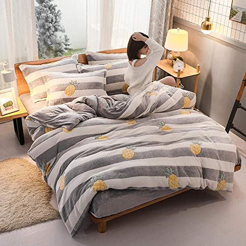 Bedspreads Four Piece Thick Flannel 220*240Cm Plus Velvet Sheet Double Sided Warm Velvet flannel Duvet Quilt Cover Set - Easy Care, Machine Washable Double King Super King -Pillowcase Yellow Pineapple