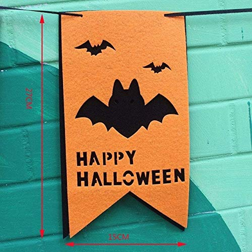 XiaoOu - Set di decorazioni per feste di Halloween, motivo: ragno, zucca stregata, colore: nero One Size B Banner 1set306