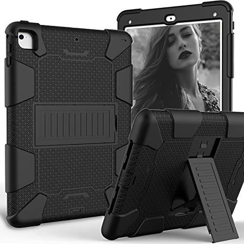 HHF Pad Accesorios para Samsung Galaxy Tab A 10.1 T510 T515, Silicona Anti-Gota Ordenador Personal Funda Trasera Protectora de Soporte para Samsung Galaxy Tab A 10.1 T510 T515 (Color : Black+Black)
