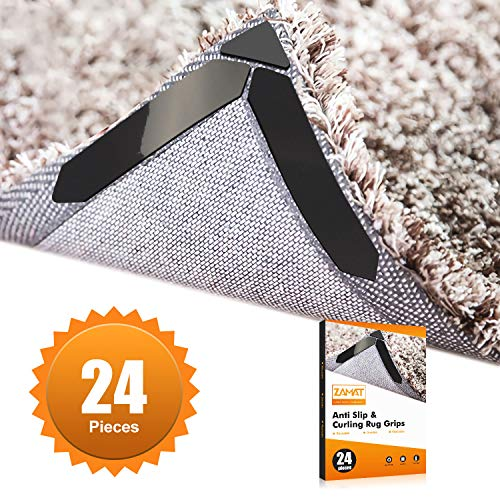 ZAMAT 24Pcs UPGRADED Anti Slip Rug Gripper For Hardwood Floor, Ultra Sticky Carpet Gripper For Area Rugs, Reusable No Curling Rug Tape to Fix Rugs & Flat Corners, Double Sided Rug Pad With No Stain