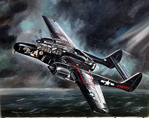 AASSS Northrop P-61 Viuda Negra poster,5D Diamante Pintura por Número Kit,Bricolaje Diamond Painting Rhinestone Bordado de Punto de Cruz Artes Manualidades Lienzo Pared Decoración(60x40cm) Sin marco