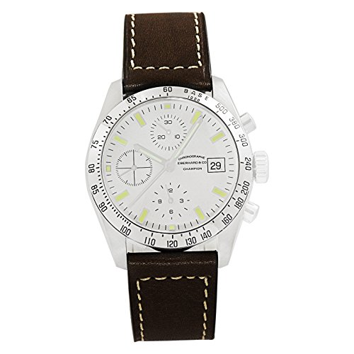 Eberhard & Co. Champion Chronograph Automatic Date Stainless Steel 31044.01 Mens Watch with Brown Leather Band White Dial