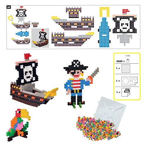 Bügelperlen Bastelset Perlenset Midi 3D Piraten mit 4.000 Perlen