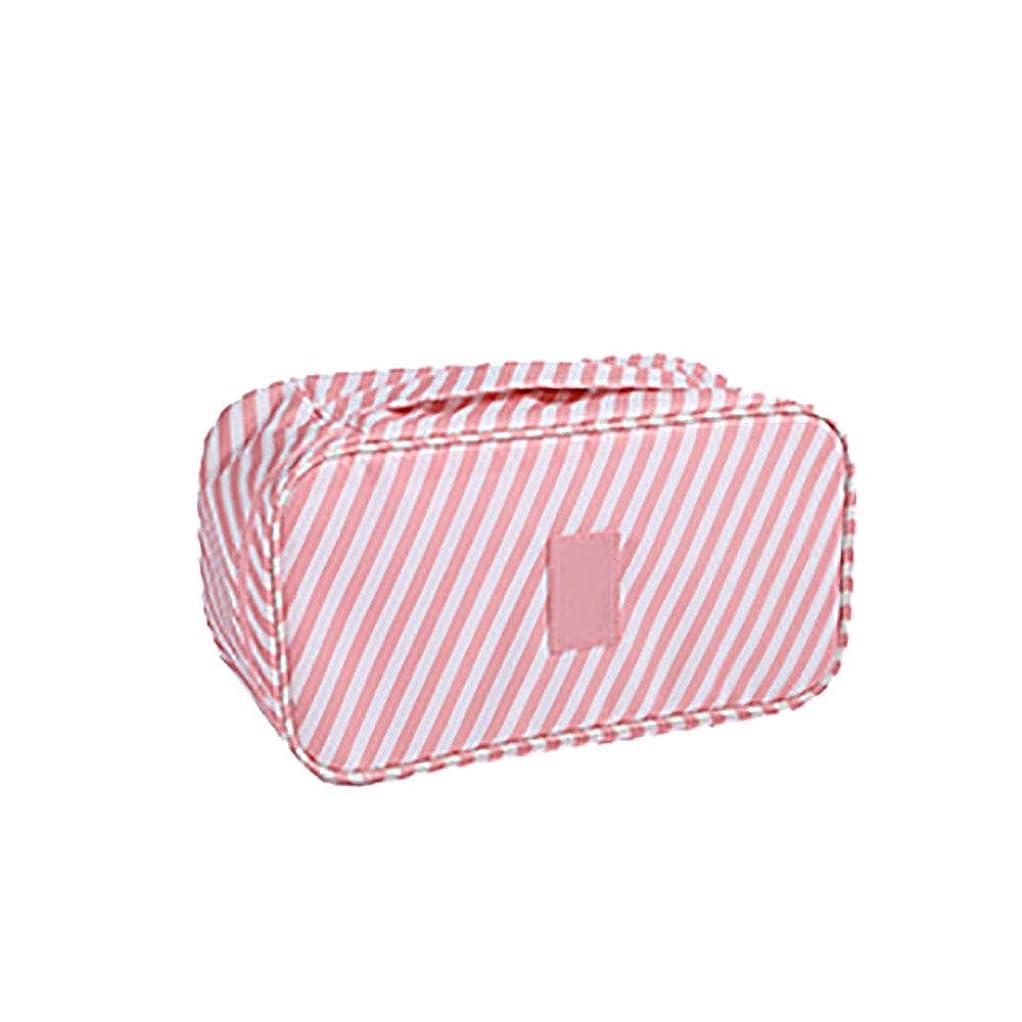 笑いペルー別のトラベルブラジャー収納袋ポータブル大容量下着アンダーウェアソックス仕上げ袋衣類仕上げ袋ピンクのストライプ26 * 13 * 17CM
